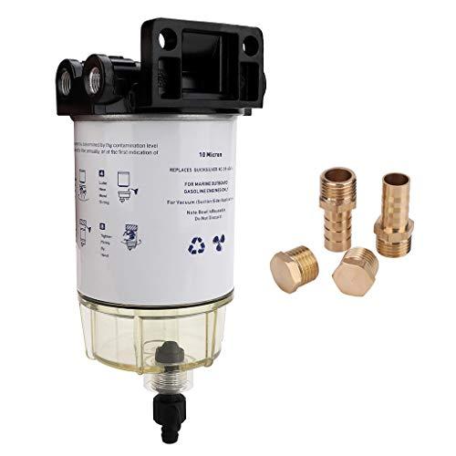 S3213 Marine Fuel Water Separator Filter 3/8 Inch NPT Port for Yamaha Racor Sierra 18-7932 18-7945 Honda Mercury 35-60494-1 Parker S3213 Outboard Motor Boat Fuel Filter Kit 10 Micron B32013 18-7922