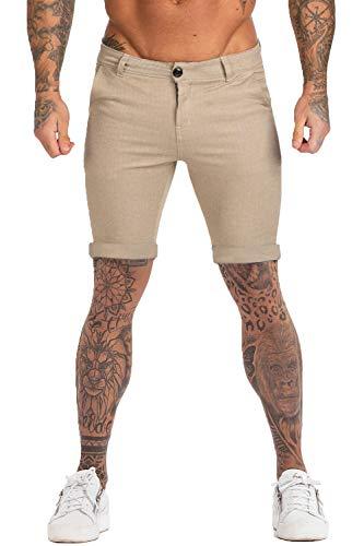 GINGTTO Khaki Shorts for Men Elastic Waist Cotton Spandex Short Shorts for Men 28