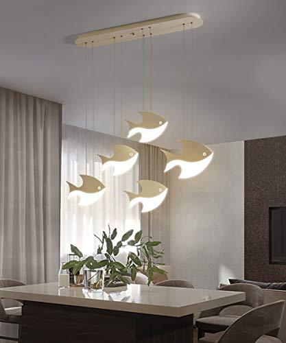 LED Lámpara colgante para mesa de comedor Regulable con control remoto Diseño moderno de peces Luz de techo Metal Acrílico Altura ajustable Dormitorio Sala de estar Cocina Lámpara de techo (5LIGHTS)