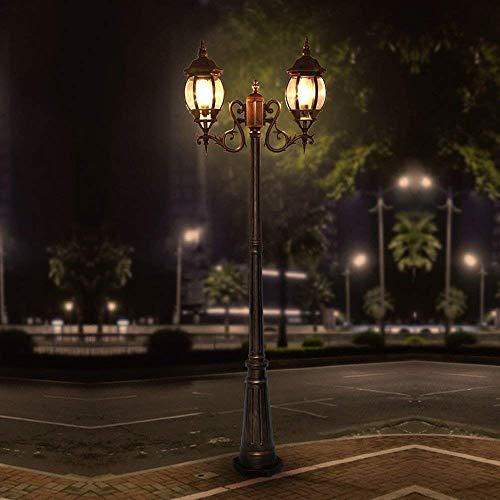 2 luces Linterna de vidrio antiguo Césped Paisaje de jardín europeo Poste alto Luz de carretera Balcón Césped Decoración de jardín Columna Luz de calle Al aire libre Impermeable Villa Poste de pilar