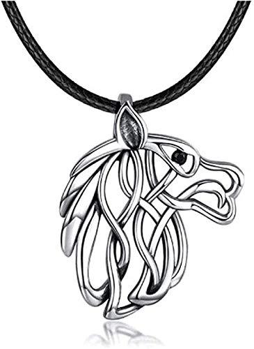 Yiffshunl Collar con Cabeza de Lobo 925, Colgante Celta de Plata, joyería, Regalos para Mujeres, Hombres, cumpleaños