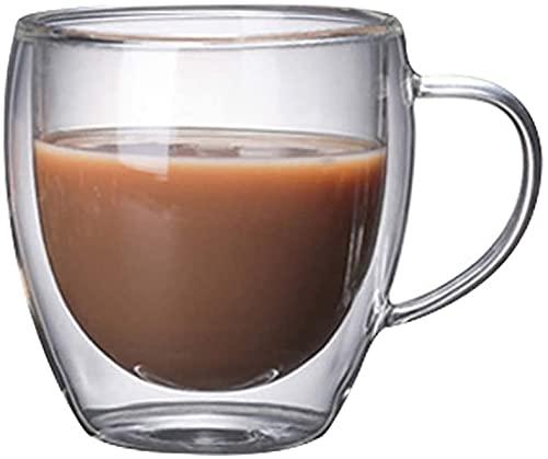 Taza de café Tazas de cristal de la pared doble con la taza de agua de la manija para la leche de cacao de chocolate tazas (Color : Clear2)