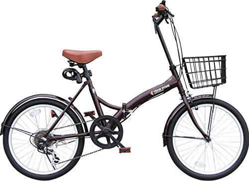 折りたたみ自転車 カゴ付 20インチ P-008N おしゃれなS字フレーム シマノ外装6段ギア フロントLEDライト・...