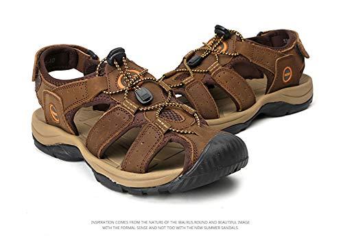 ZTT Baotou Sandalias De Los Hombres Casuales Sandalias De Cuero Sandalias De Playa, Sandalias Grandes De Las Yardas De Amortiguación 38-46,Latón,44