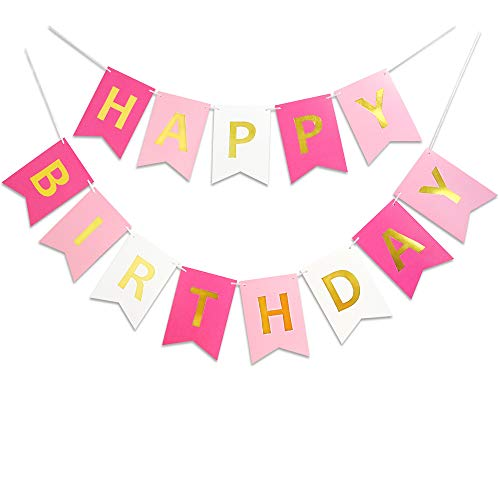 Roseo Pink Happy Birthday Banner Signs Golden Sparkle Funny Birthday Party Supplies for Girls Birthday Party Birthday Decorations Nursery Hanging Decorations 13 Pieces