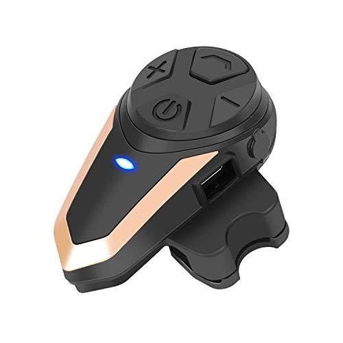 BETOWEY Intercomunicador Casco Moto BT-S3 Manos Libres Bluetooth Comunicador Intercom Headset Auriculares para Moto (Paquete 1, Oro)
