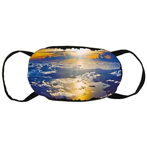 Stofvervuilingsmasker, Zonsondergang van een vliegtuig behang, zwart oor puur katoen masker, Geschikt voor mannen en vrouwen maskers
