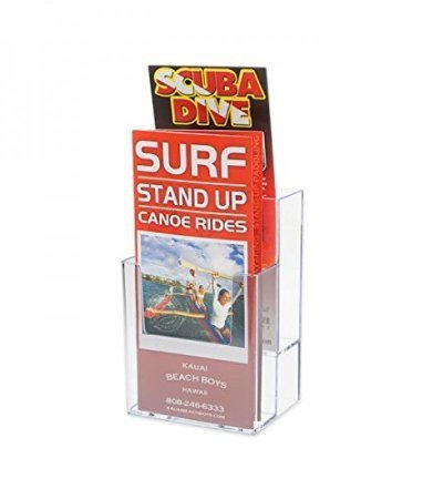 Source One LLC 4-Inch Wide 2 Tier Trifold Brochure Holder, Clea (6 Pack)