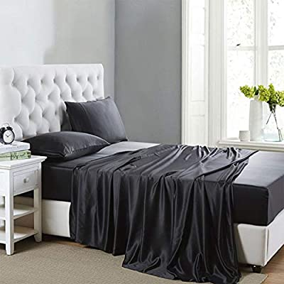 Lanest Housing Silk Satin Sheets, 4-Piece Bed Sheet Set with Deep Pockets, Cooling and Soft Hypoallergenic Silk Sheets