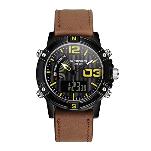 Thomm Reloj Deportivo para Hombres Doble Double Pantalla Moda Moda Relojes Impermeables para Hombres Reloj táctico Muñeca Reloj de Cuarzo Correa de Cuero (Color : E)
