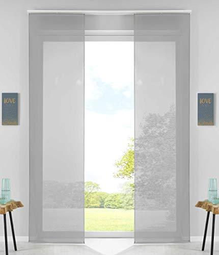 2er Set Schiebegardinen Flächenvorhänge Vorhang Gardine Schiebe HxB 245x60 cm Grau Komplett mit Paneelwagen Beschwerungsstange, 85589N2