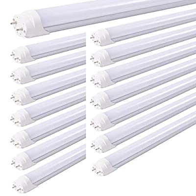 HOLDWILL 15 Pack T8 LED Tube Light Bulb, 6FT 30 Watts, Cool White 6000K, Dual-End Powered, Ballast Bypass, Frosted Cover, T8 T10 T12 Fluorescent Light Bulbs Replacement with G13 Bi-pin Base