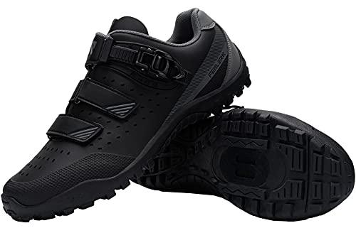 Fenlern Zapatillas de Ciclismo para Hombre Zapatos de MTB con Suela de Goma y Triple Tira de Ajustable de Correa (Negra,EU 43.5)