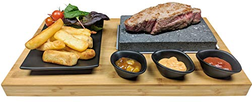Black Rock Grill Steak Stone Grill Set, Sizzling Lava Stone Steak Set