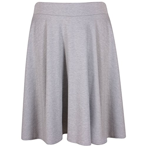 Lila Kleiderbügel für Damen, unifarben, weicher Stretch, elastischer Taillenbund, knielang, voller ausgestellter Swing Skater Midirock (20, Wein)