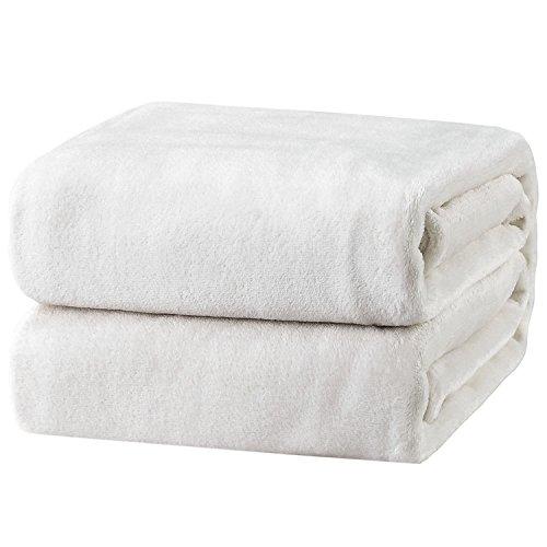 Bedsure Flannel Fleece Luxury Blanket White Queen Size Lightweight Cozy Plush Microfiber Solid Blanket