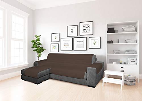 MB home basic Funda de sofá con Chaise Longue de Tela, marrón, 240 cm
