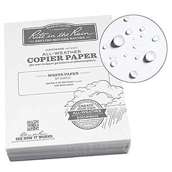 Rite in the Rain All-Weather Bulk Copier Paper 8 1/2  x 11  20# White 500 Sheet Pack  No 208511