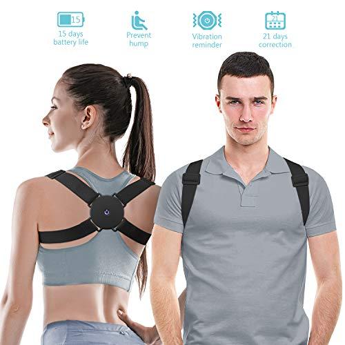 Meamae care Correttore postura schiena Intelligente ricaricabile con cavo USB, Fascia posturale spalle e schiena per schiena dritta uomo e donna (Nero)