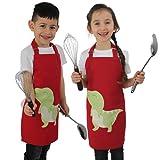 omaxxi Kochschürze Kinder Kinderschürze Jungen Schürze Kinder Mädchen Kinder Kochschürze für Mädchen Bastelschürze und Malschürze für Kinder aus Baumwolle - Ideal als Zubehör Kinderküche (Dino)