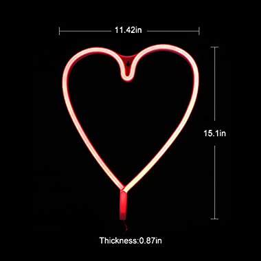 Neon Light Sign LED Heart Shaped Night Light Wall Decor Light Operated By USB/Battery With Warm Red Light for Birthday party,Kids Room, Living Room, Wedding Party Decor