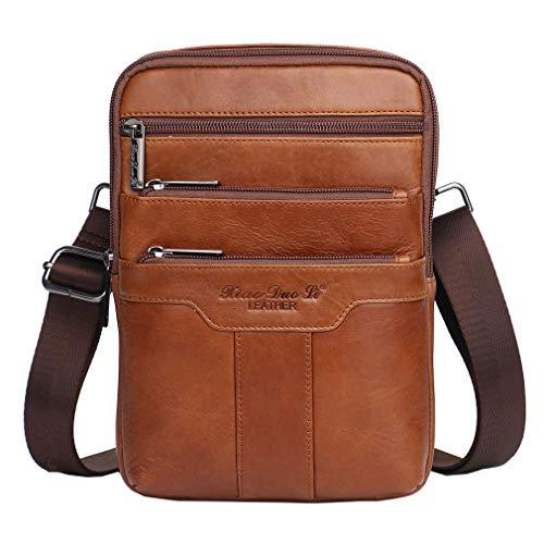 Vintage Small Leather Shoulder Messenger Bag for Men Travel Business Crossbody Pack Wallet Satchel Sling Chest Bags Brown