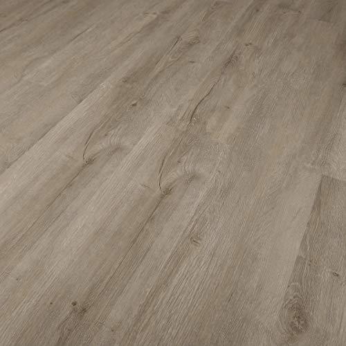 TRECOR® Klick Vinylboden RIGID 3.2 Massivdiele - 3,2 m stark mit 0,15 mm Nutzschicht - Sie kaufen 1 m² - WASSERFEST (Vinylboden 1 qm, Eiche Rustique Grau)