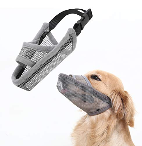 Crazy Felix Nylon Dog Muzzle for Small Medium Large Dogs, Air Mesh Breathable and Drinkable Pet Muzzle for Anti-Biting Anti-Barking Licking (S, Grey)