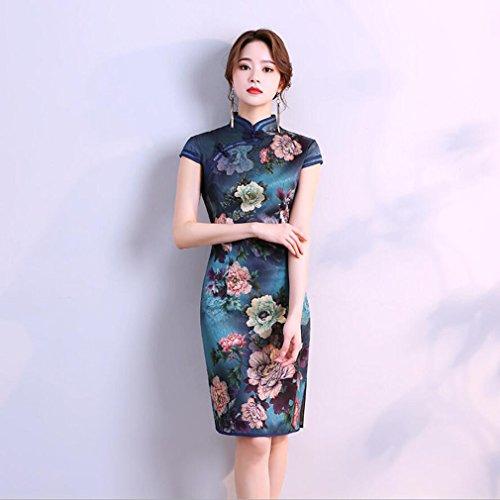 YAN Vestido de Mujer Vestido Largo de Fiesta de Noche para Mujer Cheongsam Qipao Cocktail Cocktail de Cóctel Diario de Uso de Ropa de Mujer (Color : Blue, Tamaño : S)
