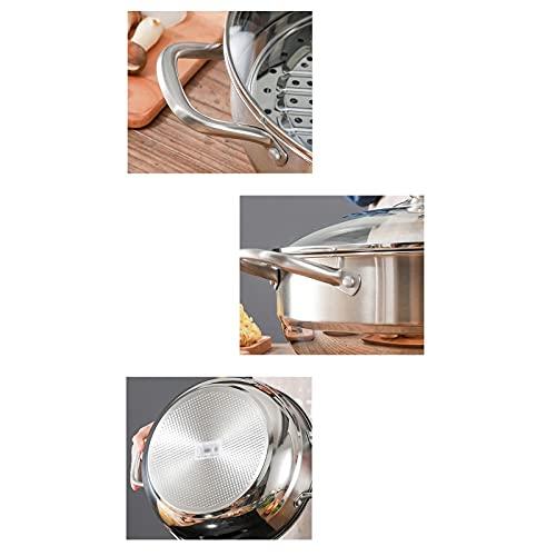 Sistema De Ollas De Cocción del Vapor De 1 Nivel, Macetas De Pasta para Técnicas Clásicas De Cocción, Plata, Olla De Calibre Grande, Pan Cotidiano(Size:32cm)