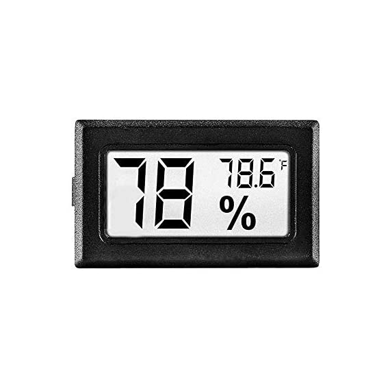 Meggsi 2-pack mini digital hygrometer gauge indoor thermometer, lcd monitor temperature outdoor humidity meter for… 4 mini, durable and portable, measuring humidity and temperature for indoor/outdoor. Fast response that measures every 10 seconds with 24 sensitive vents to provide updated and accurate readings. Fahrenheit (℉) display, this thermometer displays temperature in fahrenheit(℉). Comes with a gift kit (extra lr44 batteries+double-side tapes). Measuring humidity range :10%-99%rh, measuring humidity accuracy: +/-5%.