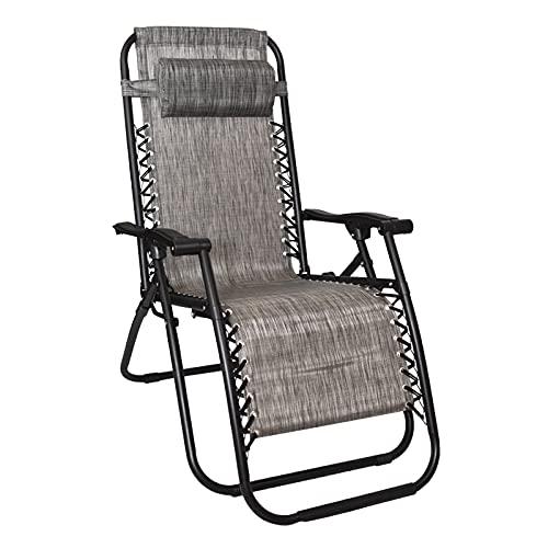 Virsus Sedia Gravity ''gravità zero'', poltrona grigia relax pieghevole salvaspazio con tubi in acciaio reclinabile sedia a sdraio per piscina, poltrona da giardino