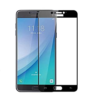 جراب هاتف - لهاتف Samsung Galaxy C7 Pro SM-C7010 5.7 واقي شاشة من الزجاج المقوى بغطاء كامل لهاتف Galaxy C7 Pro 2017 (لون ذ...