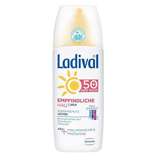 Ladival Empfindliche Haut Plus Sonnenschutz Spray LSF 50+ - Parfümfreies Sonnenspray ohne Farb- und Konservierungsstoffe - wasserfest, 150 ml