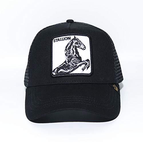 sdssup Gorra de béisbol Animal Sombrero Bordado de Fox Sombrero de Malla Sombrero Caballo Negro Ajustable