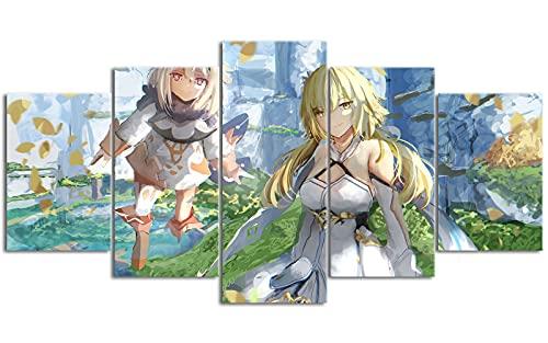 YLAXX Genshin Impact Lumine Print Wallpaper Multi-Panel Poster Print Pinturas murales Arte Moderno Pintura Abstracta decoración 200x100 cm Pintura sin Marco