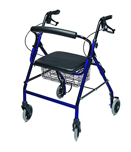 Lumex Walkabout Wide Four Wheel Rollator, 18.5 Inches, Royal Blue