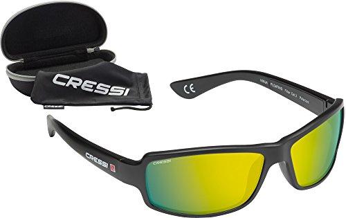 Cressi Ninja Floating - Gafas Flotantes Polarizadas para Deportes con una protección 100% UV Adultos Unisex, Negro/Lentes Amarillo Espejadas