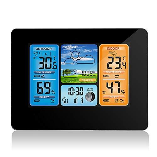 Konesky Stazione Meteo Wireless, barometro termometro Temperatura Digitale Interna umidità Esterna Temperatura con sensore Esterno Sveglia con Pressione barometrica (Nero)