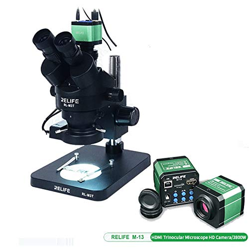 SH-CHEN Relife Trinocular Stereo Microscope 0.7-4.5X Continuous Zoom Microscope with Camera for Phone PCB Electronic Repair Device RL-M3 (Color : Gold)