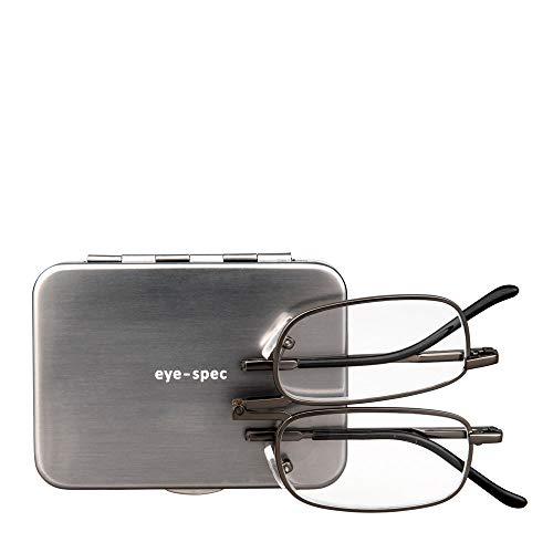 Kompakte Falt-Lesebrille für Männer mit einem Rahmen von hoher Qualität und einem flachen graphitfarbenen Hartschalen-Etui (1.00, 1.50, 2.00, 2.50, 3.00)   eye-sight von eye-spec