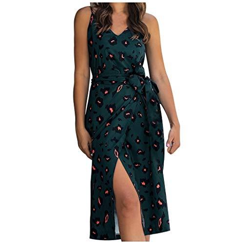 Brizz dames jurk vrouwen V-hals bloemenprint bandage taille sling split casual mini jurk dames sling met open rug geknikte jurk met sleuf voor reis alledaagse kleding