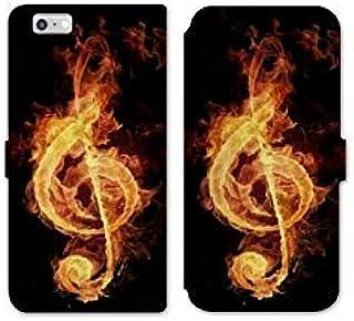 RV Leather flip case for iPhone 8 Musique - clé sol feu N