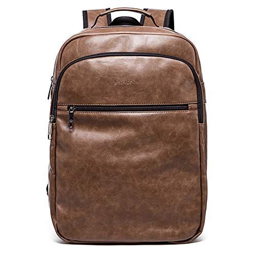 MSF-Des sacs Sac À Dos en Cuir À La Mode Grande Capacité College Wind Student Bag Loisirs Voyage Sac Business Computer Sac (Couleur : Brown)