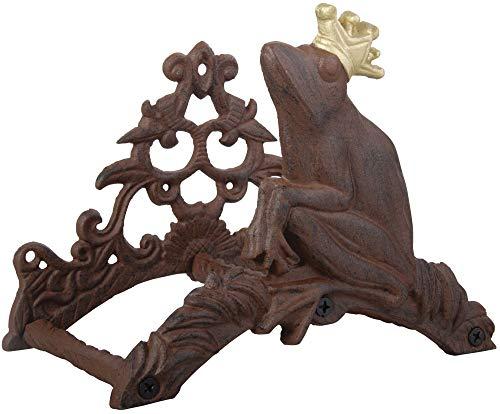 Esschert Design Schlauchhalter, Gartenschlauchhalter Motiv Frosch mit Krone, aus rötlichem Gusseisen für Wandmontage, ca. 26 x 16 x 20 cm