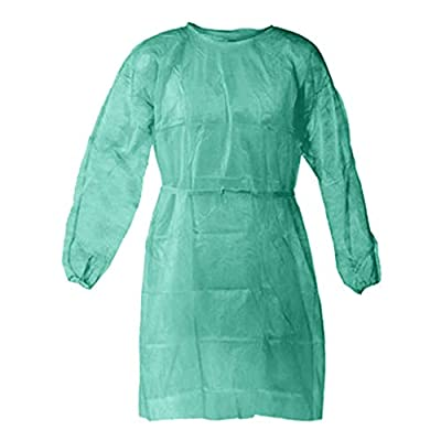 Sendry Isolation Gowns, Disposable Protective Clothing,Yellow Protective Gowns, Examination Gowns, Knit Cuff Non Woven, Fluid Resistant,one Size fits All(5/10 Packs, Light Yellow Blue)