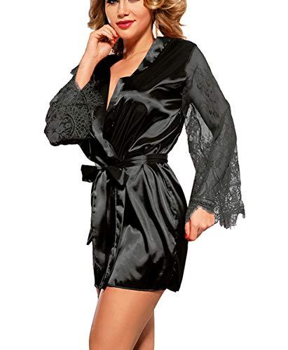 marysgift Sexy Unterwäsche Damen große größen Morgenmantel Kimono Sexy Satin Kurz Robe Bademantel Nachtwäsche Sleepwear Bademantel Damen Robe Pajama Schwarz 5XL 48 50