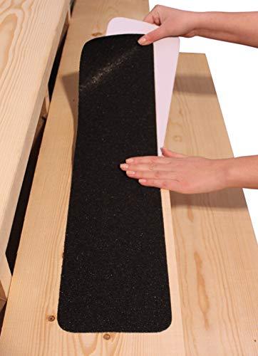 Rutschschutz Antirutsch-Band für Aussentreppe 15x76 cm (10er-Set) – Anti-Rutsch-Streifen für Treppen-Stufen Aussen, Selbstklebend, Schwarz