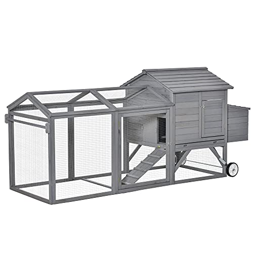 PawHut 96.5' Chicken Coop Wooden Hen House Rabbit Hutch Poultry Cage Pen Portable Backyard with Wheels Outdoor Run and Nesting Box Grey