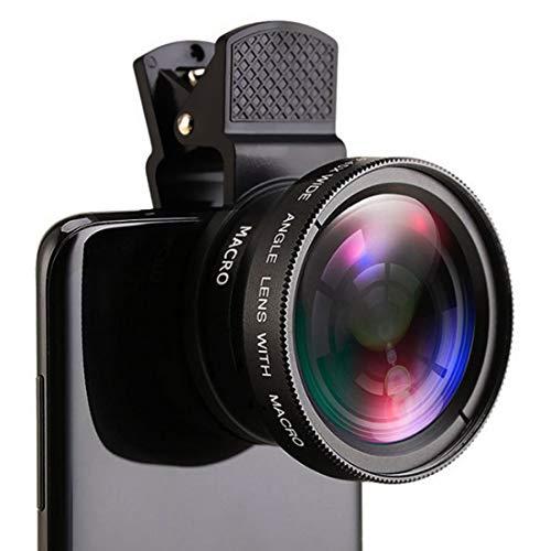 Obiettivo fotocamera cellulare 2in1 Clip-on Lens Kit 0.45XSuper Wide Angle&12.5XMacro Phone Camera Lens per Tik Tok Vlog Yotube Filmatura per iPhone XR S Max Plus la maggior parte smartphone Android